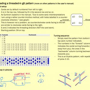Mystery Weave 1: GTT Patterns tablet weaving chart